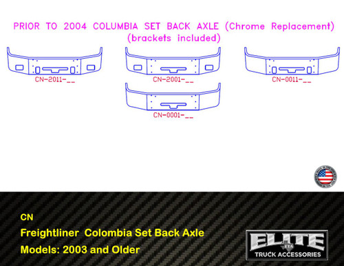 Freightliner Bumper Columbia 2003 and older models (CN Bumper)
