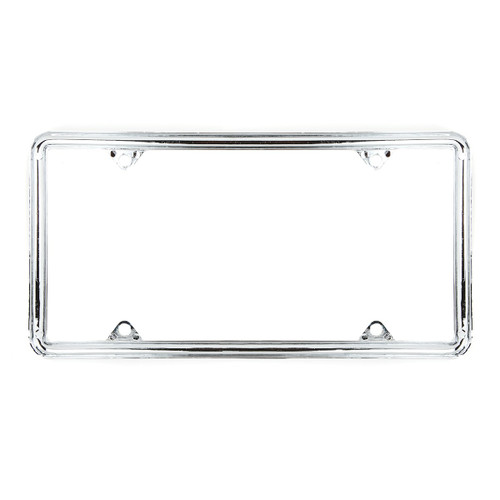 Chrome Zinc 4-Hole License Plate Frame