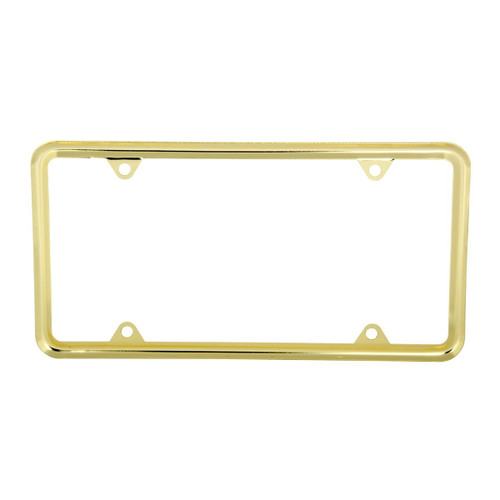 Brass Plated Zinc 4-Hole License Plate Frame