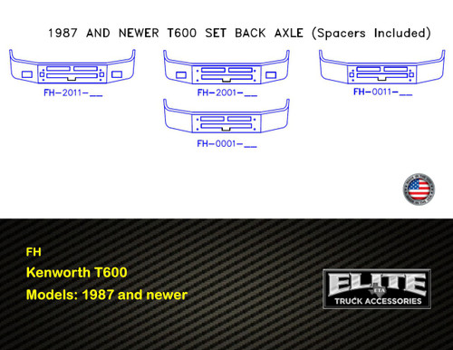 Kenworth Bumper T600 Set Back Axle, 1987 and newer