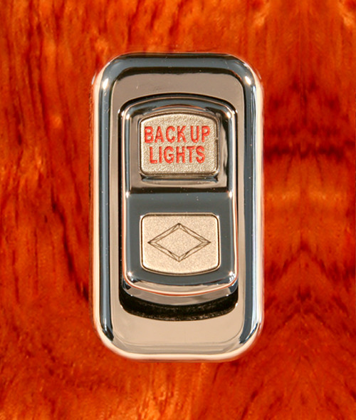 Back Up Lights-Illuminated Chrome Actuator Button for Electric Rocker Switch