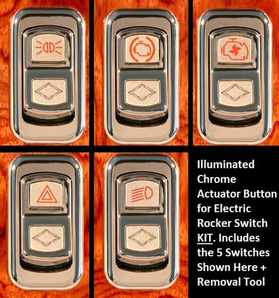 Illuminated Chrome Actuator Button for Electric Rocker Switch KIT