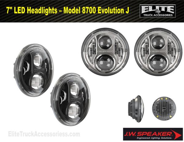 "7"" Round LED Projector Headlight Set Evolution J (Pair) (0551131, 0551141)"