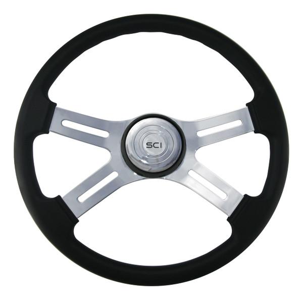 "18"" Classic Steering Wheel - Black Polyurethane Rim (180-3003-77502)"