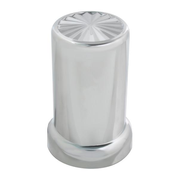 Pinwheel Chrome Plastic Lug Nut Cover with Flange