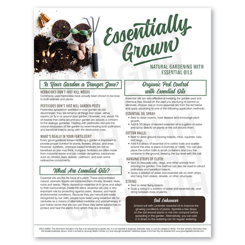 Essentially Grown: Natural Gardening with Essential Oils Handout Pack