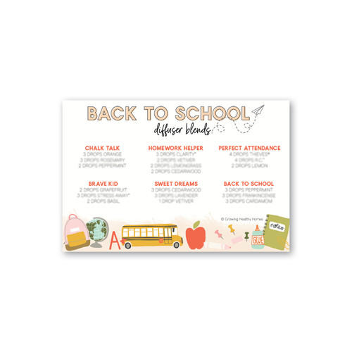 Back to School Diffuser Blend Printable Card