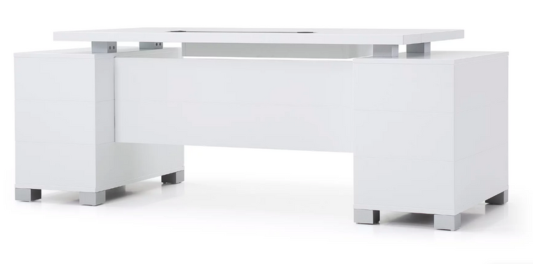 "Floating Top 79"" White Matte Lacquer Executive Desk"