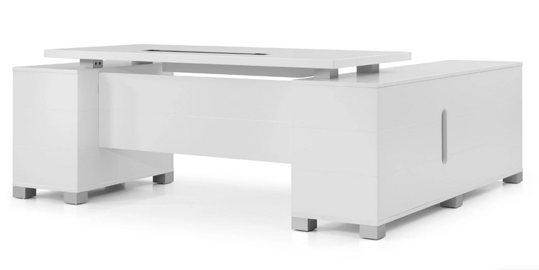"""Floating Top 79"""" White Matte Lacquer Executive Desk With Return"""