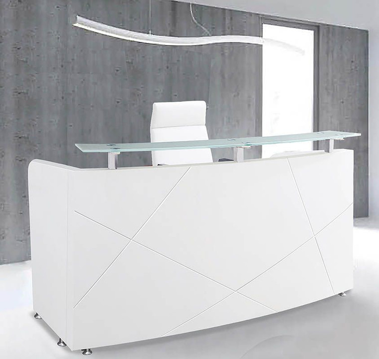 "72"" Modern High Gloss White Curved Reception Desk"