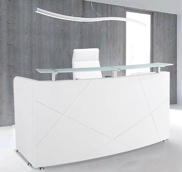 "72"" Modern High Gloss White Curved Reception Desk"