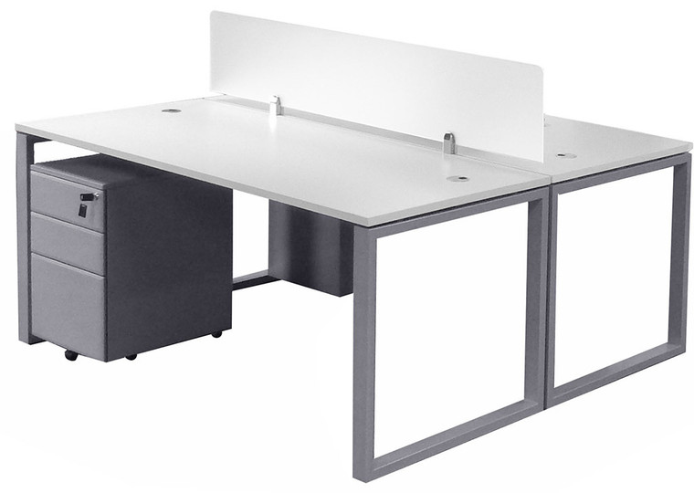 "2-Person 66"" Basic Benching Workstation with Glass Divider and Drawers"