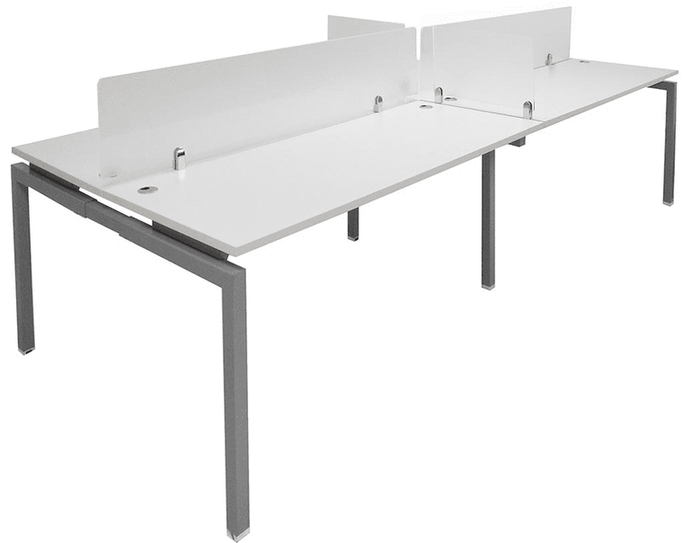 "4-Person 66"" Benching Workstation with Glass Dividers"