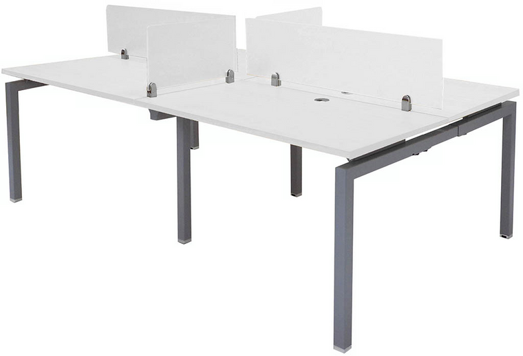 "4-Person 48"" Benching Workstation with Glass Dividers"
