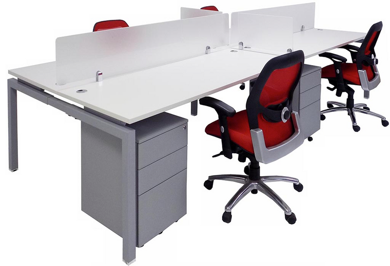 """4-Person 48"""" Benching Workstation with Glass Dividers and Drawers"""