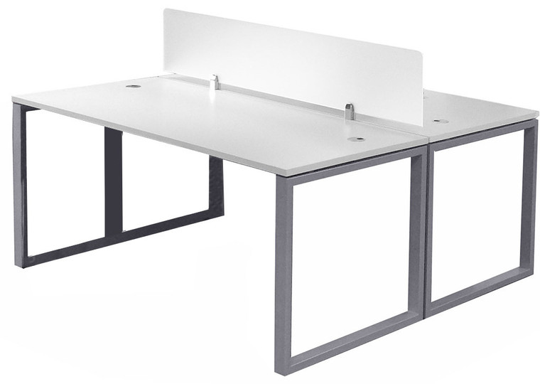 "2-Person 66"" Basic Benching Workstation with Glass Divider"