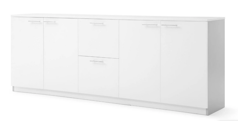 "87"" White Matte Lacquer Combination Storage Credenza"