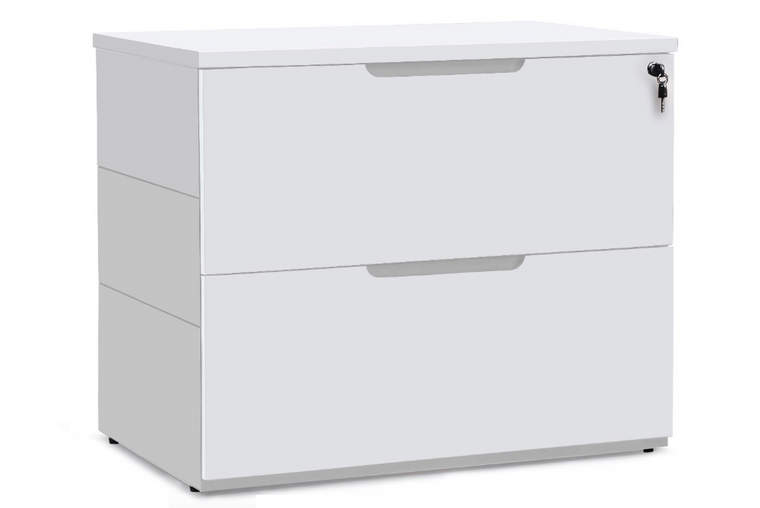 """36"""" White Matte Lacquer 2-Drawer Lateral File Cabinet"""