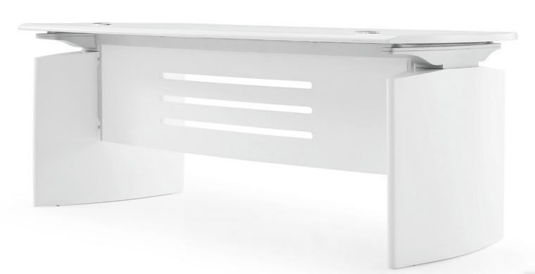 """Art Deco 82"""" White Matte Lacquer Curved Executive Desk"""