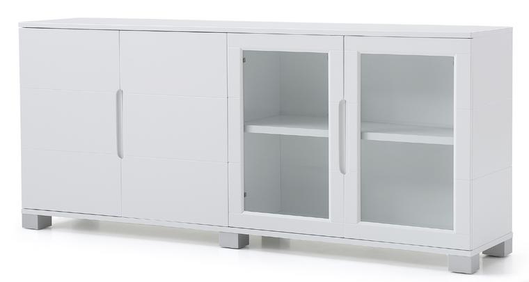 "72"" White Matte Lacquer 4-Door Storage Credenza"