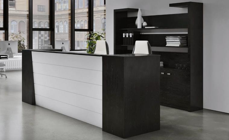 "104"" Black Oak Wood Veneer and White Lacquer Reception Desk"