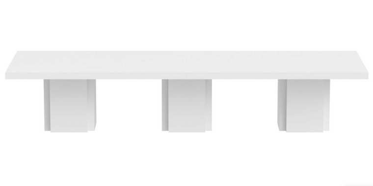 "White 154"" High Gloss Lacquer Rectangular Conference Table"