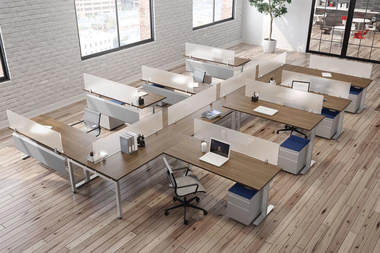 8-Person Standing Height Adjustable L-Desk Workstations