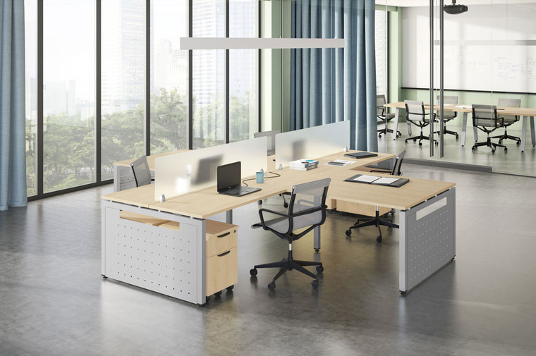 4-Person L-Desk Workstations with Screen Dividers