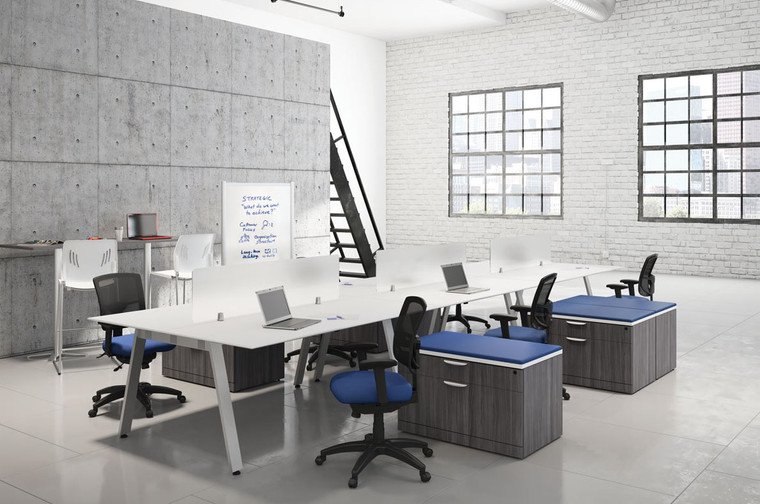 6-Person Benching Workstations with Screen Dividers and Floor Storage