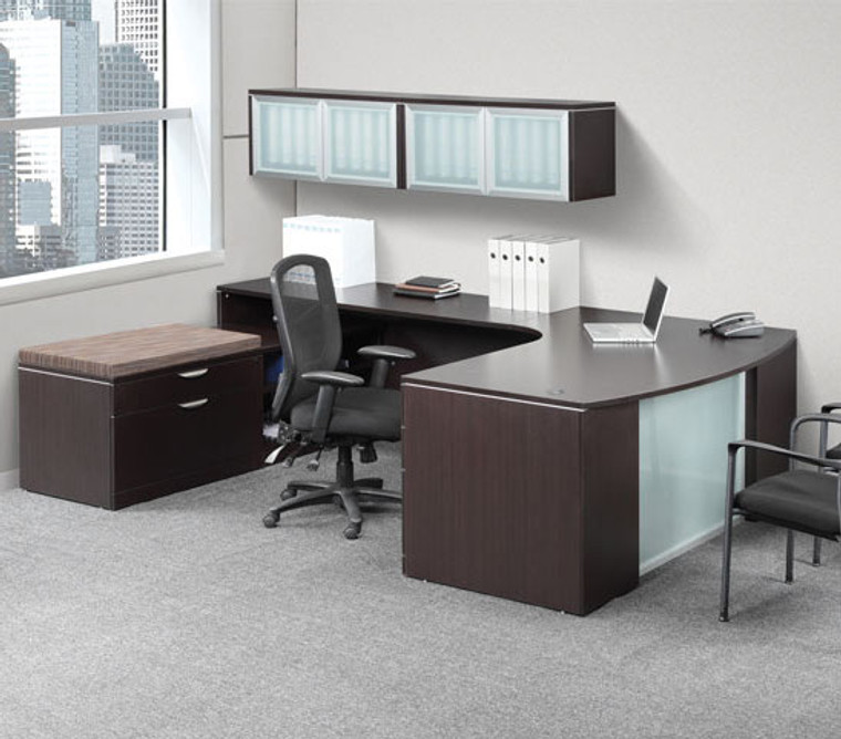 OSL-Series U-Shape Bow Executive Desk with Glass Modesty and Wall Mounted Hutch Storage