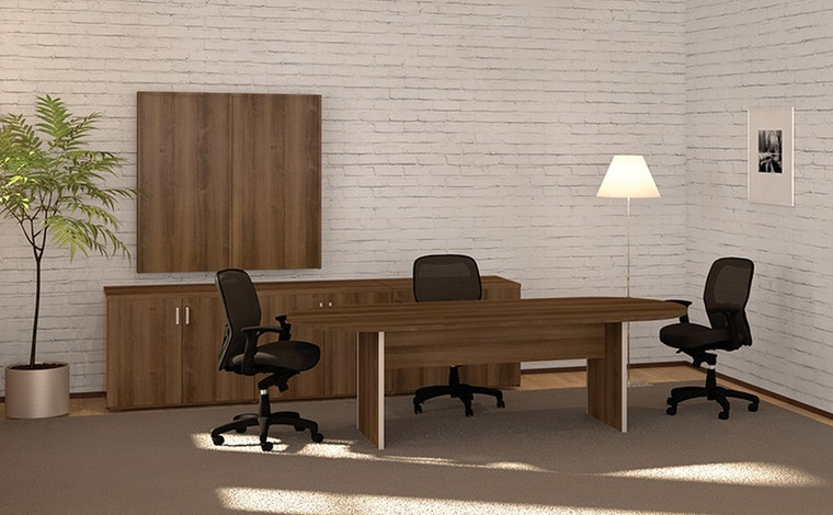 AM-Series 6' Racetrack Conference Table with 2-Door Storage Units and Presentation Board
