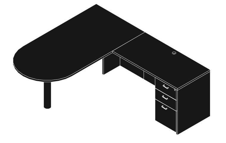 """AM-Series 66"""" Bullet Front Executive L-Shape Desk"""