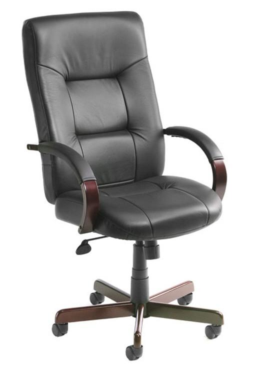 Italian Leather High Back Wood Executive Chair