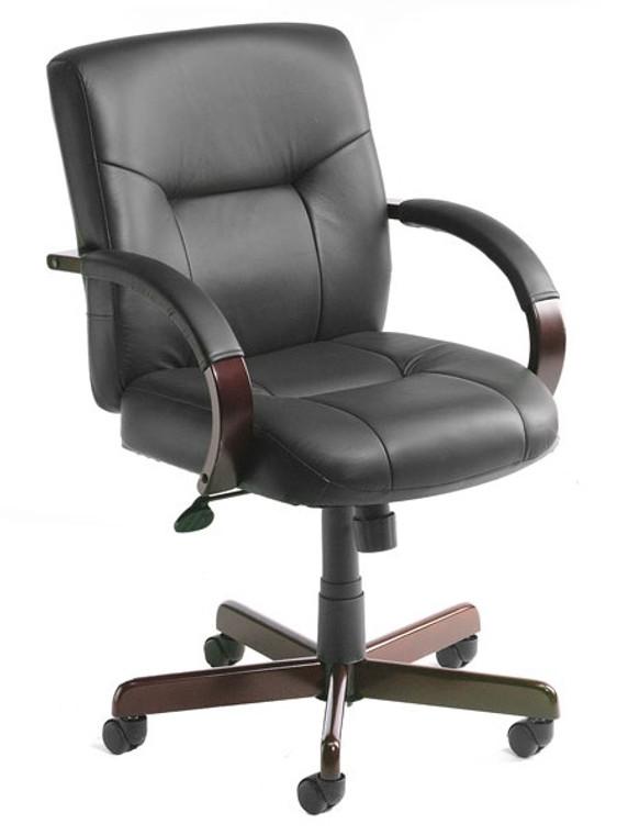 Italian Leather Mid Back Wood Executive Chair