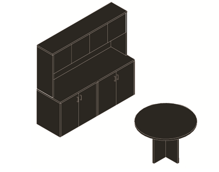"""AM-Series 47"""" Round Table with Lateral Storage Credenza and Hutch"""
