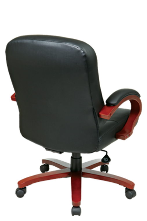 Leather Mid Back Executive Chair with Cherry Finish Wood