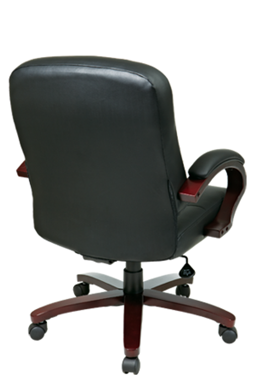 Leather Mid Back Executive Chair with Mahogany Finish Wood