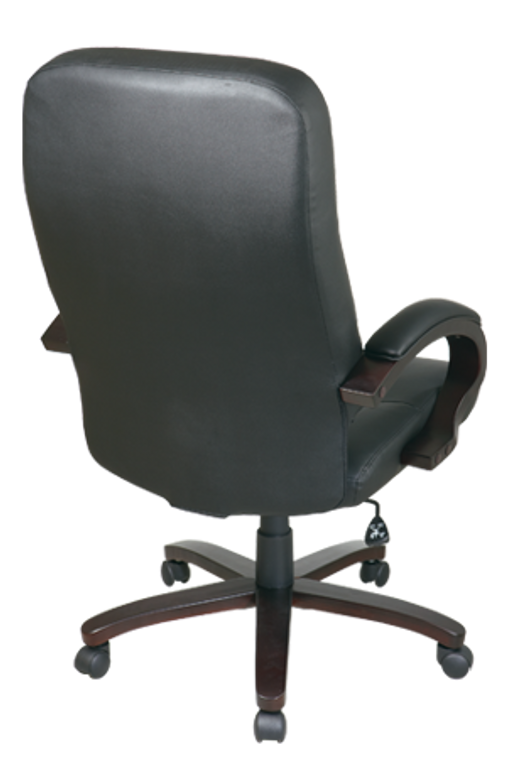 Leather High Back Executive Chair with Espresso Finish Wood