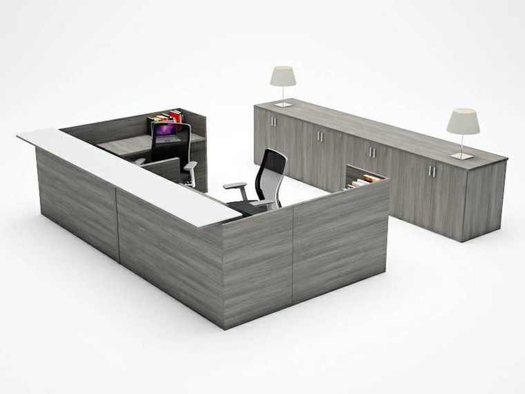 AM-Series U-Shape Reception Desk Shell with Glass Counter