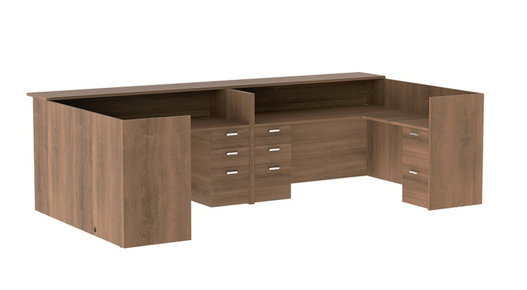 AM-Series U-Shape Reception Desk with Wood Counter