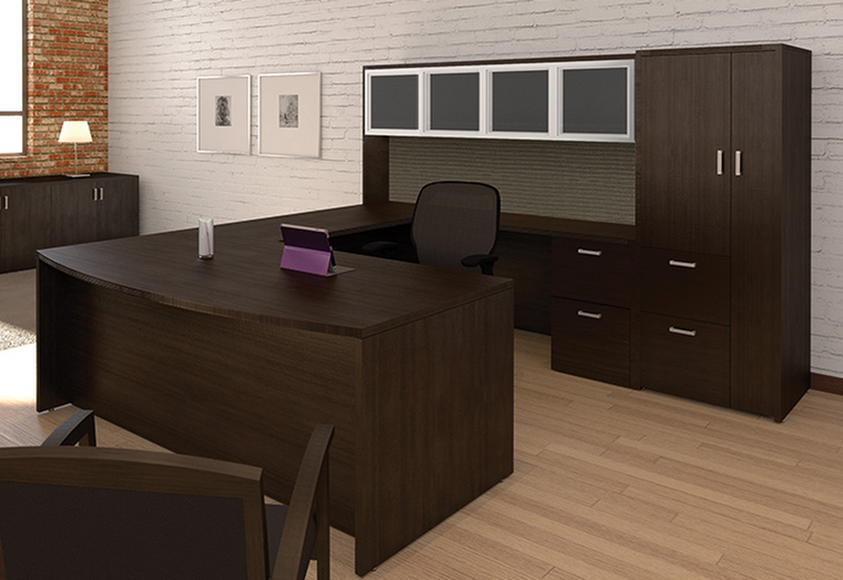 AM-Series Bow Front U-Shape Desk with Hutch and Wardrobe Storage Cabinet