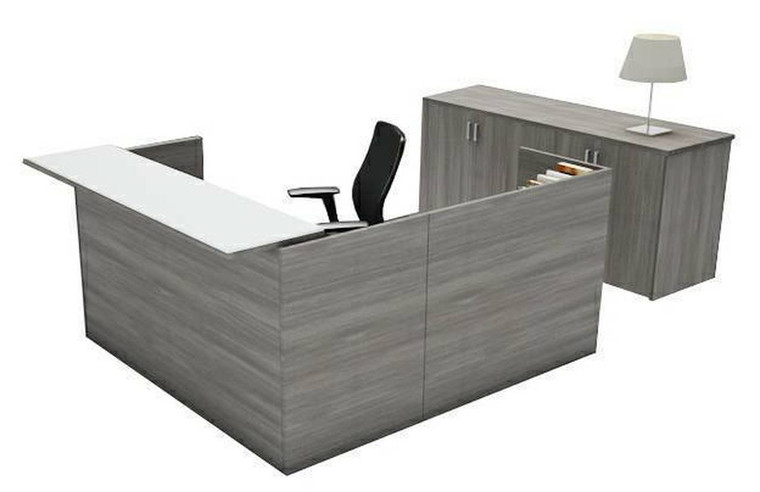 AM-Series L-Shape Reception Desk Shell with Glass Counter
