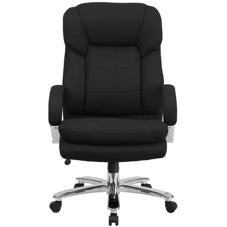 24/7 Intensive Use Big & Tall 500 lb. Rated Black Fabric Executive Swivel Chair with Loop Arms