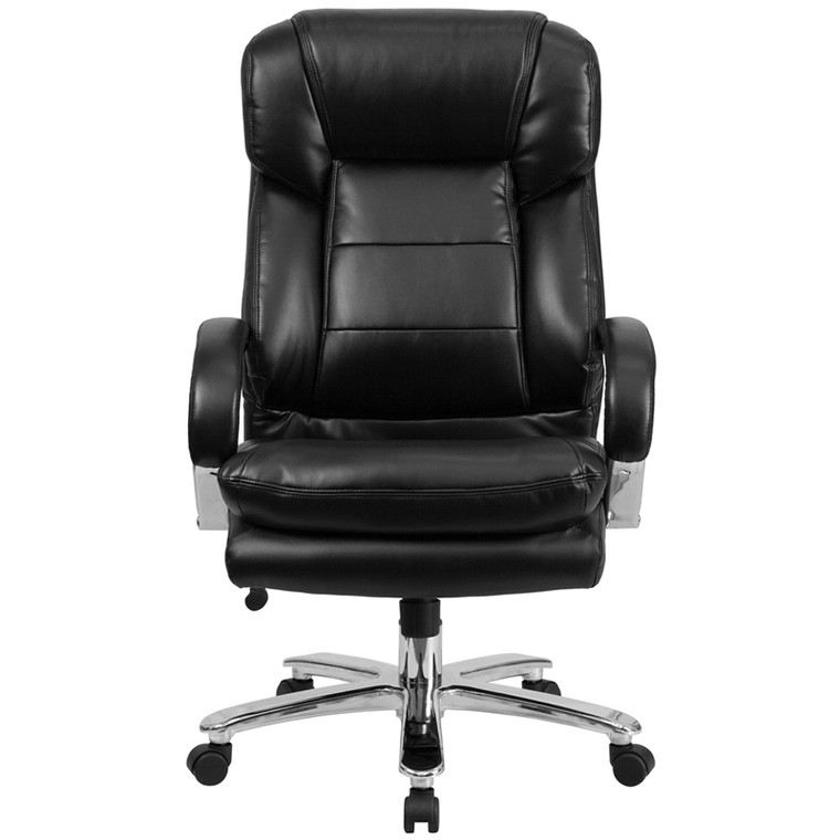 24/7 Intensive Use Big & Tall 500 lb. Rated Black Leather Executive Swivel Chair with Loop Arms