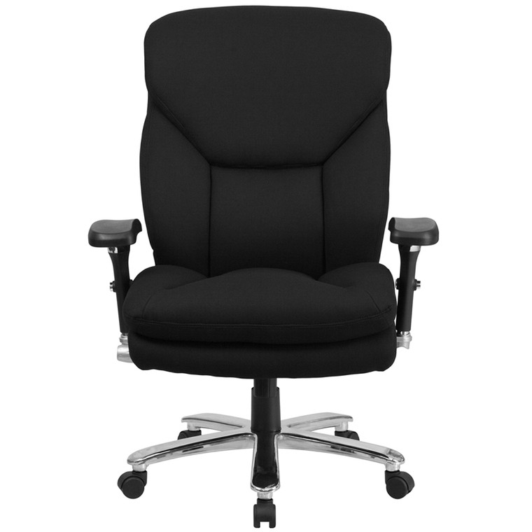 24/7 Intensive Use Big & Tall 400 lb. Rated Black Fabric Executive Swivel Chair with Lumbar Knob