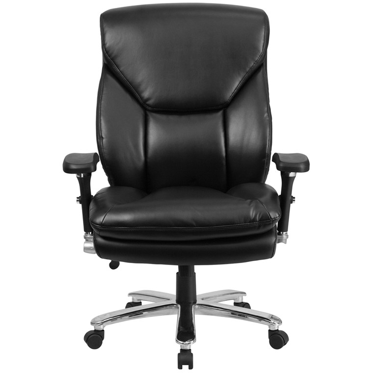 24/7 Intensive Use Big & Tall 400 lb. Rated Black Leather Executive Swivel Chair with Lumbar Knob