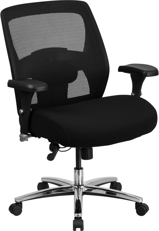 24/7 Intensive Use Big & Tall 500 lb. Rated Black Mesh Executive Swivel Chair with Ratchet Back