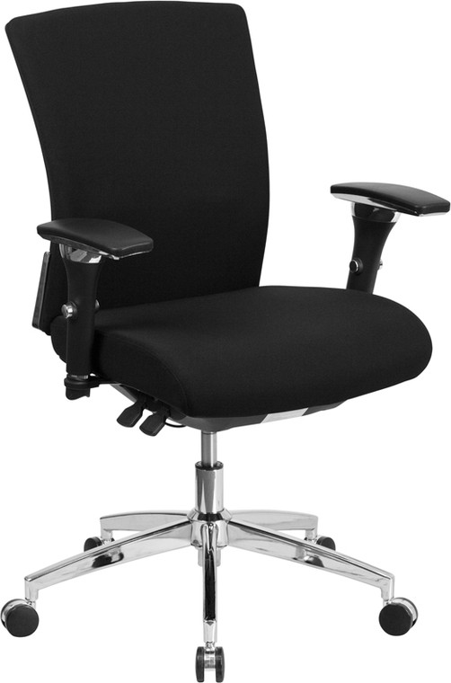 24/7 Intensive Use 300 lb. Rated Black Fabric Multifunction Executive Swivel Chair with Seat Slider