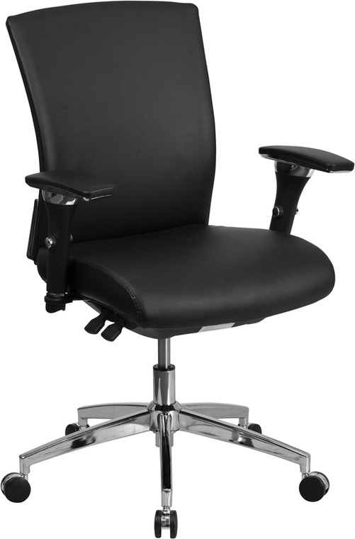 24/7 Intensive Use 300 lb. Rated Black Leather Multifunction Executive Swivel Chair with Seat Slider