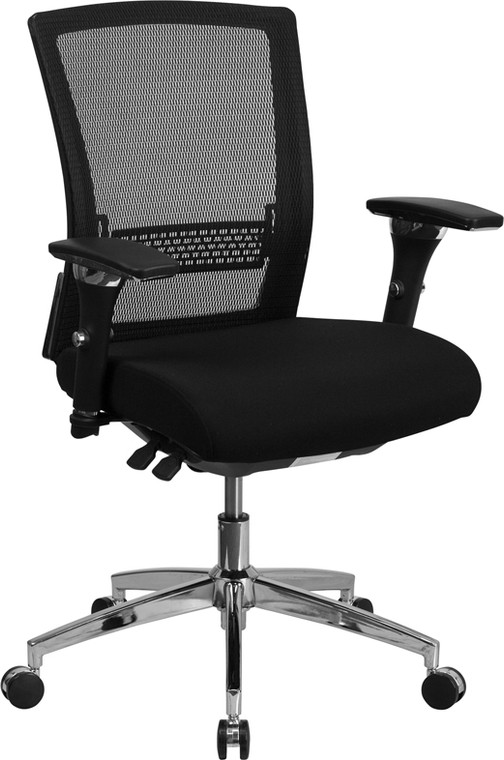 24/7 Intensive Use 300 lb. Rated Black Mesh Multifunction Executive Swivel Chair with Seat Slider